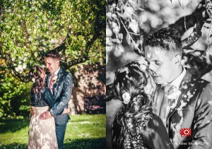 Romantisches Fotoshooting im Park zur Hochzeit
